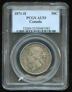 Click now to see the BUY IT NOW Price! 1871H CANADA HALF DOLLAR   PCGS AU53   SUPERB TONING   EXPO