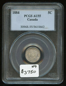 Click now to see the BUY IT NOW Price! 1884 CANADA FIVE CENTS SILVER COIN   PCGS AU55 KEY DATE   NEAR 4 VARIETY