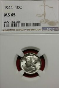 1944 P MS 65 MERCURY DIME NGC CERTIFIED GRADED SLAB COMBINED SHIPPING OCE 804