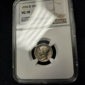 1916 D MERCURY DIME 10 SILVER COIN NGC VG10 EXCELLENT TONING & EYE APPEAL