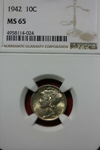 1942 P MS 65 MERCURY DIME NGC CERTIFIED GRADED SLAB COMBINED SHIPPING OCE 77