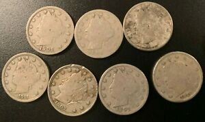 LOT OF 7 LIBERTY NICKELS   GREAT FOLDER FILLERS