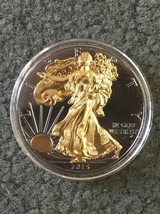 2015 AMERICAN SILVER EAGLE $1 BLACK RUTHENIUM & 24KT GOLD ENHANCED 145 OF 1 000