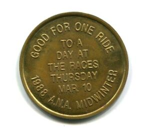 ARKANSAS TRANSIT TOKEN A.N.A. MIDWINTER 1 RIDE TO A DAY AT THE RACES MARCH 1988
