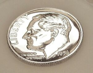 1956  CHOICE  PROOF   DIME  90   SILVER >BLAZING  MIRRORED  SURFACES < 1212  22