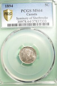 1894 CANADA 5 CENT    GRADED   PCGS MS 64