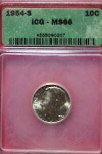 1954 S MS 66 ROOSEVELT DIME ICG CERTIFIED GRADED SLAB FAST SHIPPING OCE 964
