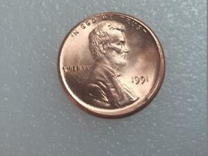 1991 LINCOLN CENT  OFF CENTER US ERROR COIN.