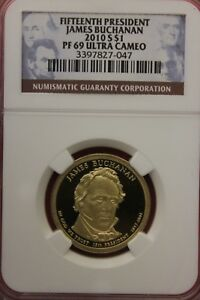 2010 S PF69 JAMES BUCHANAN PRESIDENTIAL DOLLAR NGC DEEP CAMEO OCE 1424