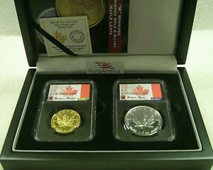 Click now to see the BUY IT NOW Price! 2020 W CANADA MAPLE LEAF GOLD & SILVER BURNISHED SET S$50 AND S$5  NGC MS 70 FDP