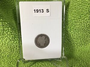 1913 S  BARBER DIME    KEY DATE   IN BCW SLAB TYPE HOLDER 2