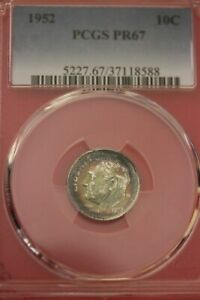 TONED 1952 PR 67 ROOSEVELT DIME PCGS CERTIFIED GRADED AUTHENTIC SLAB OCE 1236