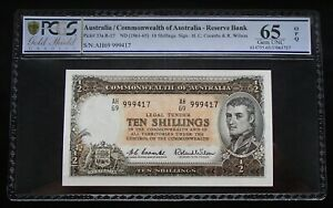 Click now to see the BUY IT NOW Price! 1961 TEN SHILLINGS R17X. COOMBS/WILSON LAST PREFIX AH/69 PCGS GEM UNCIRCULATED
