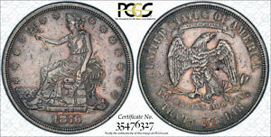 1876 P TRADE DOLLAR $1 TYPE 1.5 4 FINGER TRANSITIONAL PCGS XF DETAILS