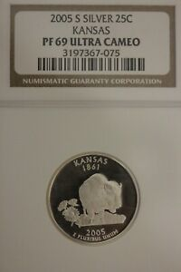 2005 S PF 69 SILVER KANSAS STATE QUARTER NGC CERTIFIED GRADED AUTHENTIC OCE 1208