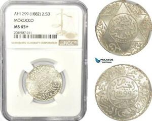 Click now to see the BUY IT NOW Price! AD971 MOROCCO MOULAY AL HASAN I 2 1/2 DIRHAMS AH1299  1882  SILVER NGC MS65