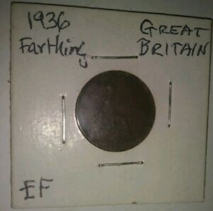 1936 GREAT BRITAIN KING GEORGE V FARTHING COIN   LAST YEAR OF REIGN   XF ITEM