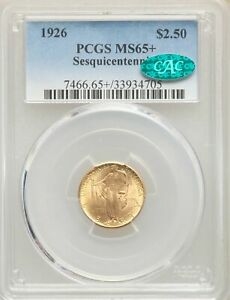 Click now to see the BUY IT NOW Price! 1926 US GOLD $2.50 SESQUICENTENNIAL OF AMERICAN INDEPENDENCE   PCGS MS65    CAC