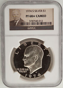 1974 S SILVER PROOF EISENHOWER DOLLAR NGC PF68  STAR CAMEO   SUPERIOR EYE APPEAL