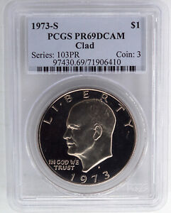1973 S CLAD PROOF EISENHOWER DOLLAR PCGS PR69DCAM