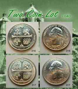 TWO COIN LOT   2019 W SAN ANTONIO MISSIONS TEXAS QUARTER WEST POINT   2019W_L040