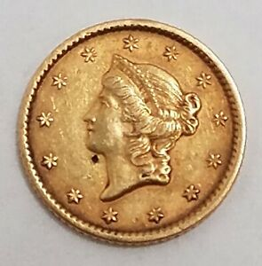 1852 1 DOLLAR LIBERTY GOLD COIN IN ABOUT UNCIRCULATED CONDITION ZZ41