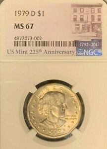 1979 D SBA NGC CERTIFIED MS 67  225TH ANNIVERSARY MINT LABEL