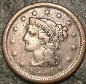 1856 BRAIDED HAIR LARGE CENT DAMAGE