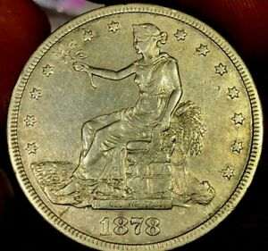 GENUINE SILVER 1878 S US TRADE DOLLAR ALMOST UNCIRCULATED ESTATE COIN TYPE BOOK