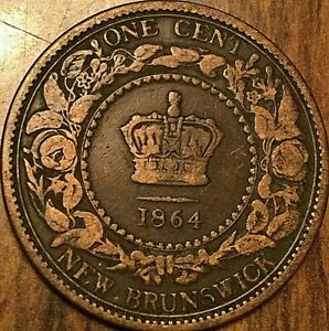1864 NEW BRUNSWICK LARGE CENT COIN LARGE 1 CENT PENNY