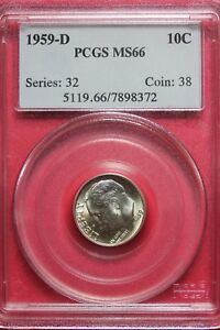 1959 D MS66 ROOSEVELT DIME PCGS CERTIFIED GRADED AUTHENTIC SLAB OCE031