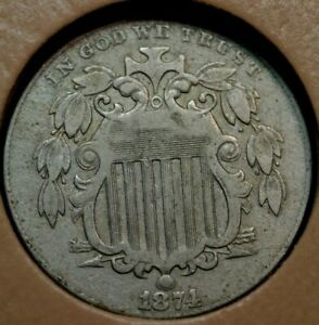 1874 SHIELD NICKEL VF VF     PART OF A HUGE ESTATE COLLECTION