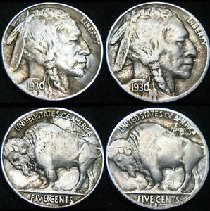 TWO COINS  1930 P & 1930 S BUFFALO NICKELS 5 FY35UP