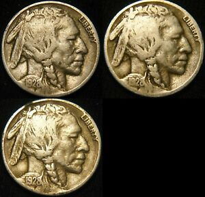 THREE COINS 1928 P 1928 D 1928 S BUFFALO NICKELS 5  1928 PDS FY24IB