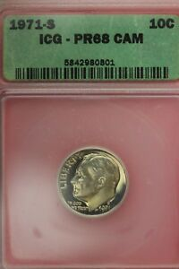 1971 S PR 68 CAMEO ROOSEVELT DIME ICG CERTIFIED GRADED AUTHENTIC SLAB OCE634