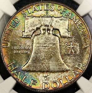 RAINBOW TONED NGC MS65 1957 D FRANKLIN HALF DOLLAR 50C PQ COLOR REVERSE MOUNTED