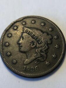 NICE OLD  1836 CORONET US COPPER LARGE CENT  CUD 6TH STAR NEWCOMB N 3
