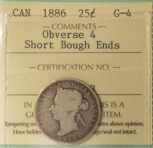 1886 CANADA SILVER 25 CENTS   ICCS G 4    SERIAL  X0X 223