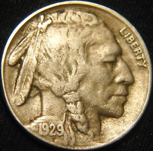 FULL HORN 1929 S BUFFALO NICKEL 5 FREE/REDUCED S&H ON MULTIPLE ITEMS FY46MB