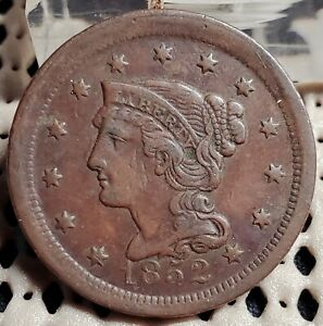 1852 BRAIDED HAIR LARGE CENT 1 COPPER COIN NICE COIN SLIGHT OFF CENTER STRIKE