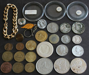 VINTAGE LOT OF COINS TOKENS HOLDERS   MORE