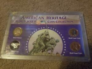 AMERICAN HERITAGE WORLD WAR II COIN COLLECTION SILVER NICKEL STEEL CENT SHELL