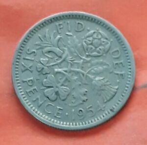 UK 6 SIX PENCE 1954 GREAT BRITAIN FOREIGN COIN