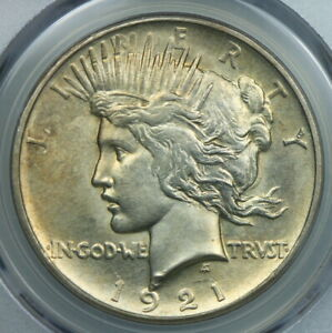 KEY DATE PCGS MS62 1921 HIGH RELIEF SILVER PEACE DOLLAR $1    BC95