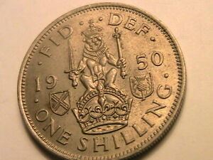 1950 UK GREAT BRITAIN SHILLING SOTTISH REV CH ORIG LUSTROUS UNC 1S GEORGE V COIN
