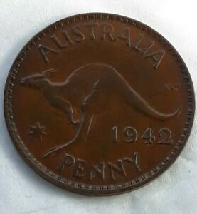 AUSTRALIA KM41 1942 P FINE NCIE OLD VINTAGE ANTIQUE WWII 1/2 CENT ANIMAL COIN