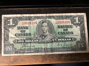 1937 CANADA CANADIAN HIGH GRADE GEORGE VI ONE DOLLAR NOTE
