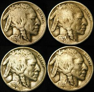 FOUR COINS 1926 P 1927 P 1928 P 1929 P BUFFALO NICKEL 5 FY69IP