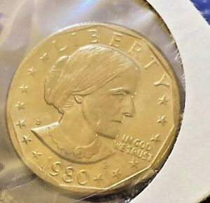1980 D GEM BU SUSAN B. ANTHONY $1 COIN   IN SEALED MINT CELLO   AWESOME   N68