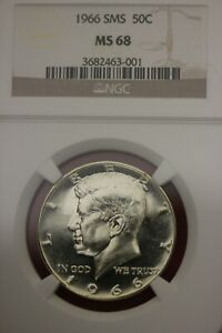 1966 SMS MS 68 JOHN KENNEDY HALF DOLLAR NGC CERTIFIED GRADED AUTHENTIC OCE 533